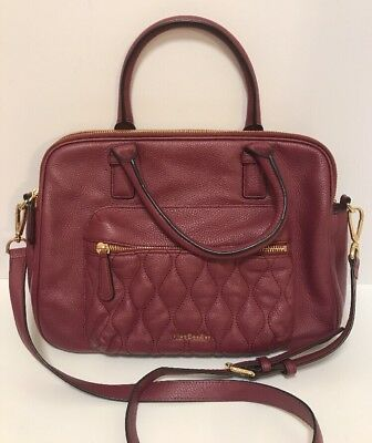 Vera Bradley Triple Compartment Crossbody Bag Sycamore Aubergine Leather Purse