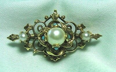 "14K Gold & Natural Pearls & Turquoise Pin w Pendant Ring 6.0 grams 1 1/2"" wide"