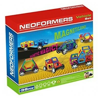 NEW Neoformers Vehicle Set 36 Pieces - Kids Educational Magnetic Tiles Building