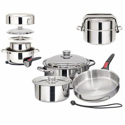 NEW Magma Nestable 7 Piece S.s Starter Cookware Set A10-362