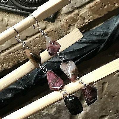 Genuine 10ct Multicolor Tourmaline 925 Solid Sterling Silver Earrings 50mm Long