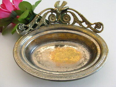 Antique Nickel Brass Victorian Vintage Soap Sponge Dish . With a Bird