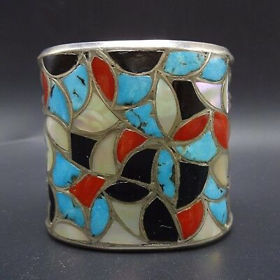 Huge Vintage Zuni Inlay Sterling Silver Coral Turquoise Cuff