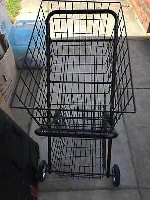 Double Steel Basket Shopping Trolley  Collapsible Shopcart Cart 4 Strong Wheels