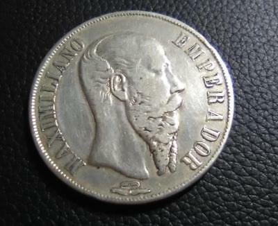 MEXICO - 1866Mo 1 Peso CROWN - Maximillian - old cleaning - VF-XF