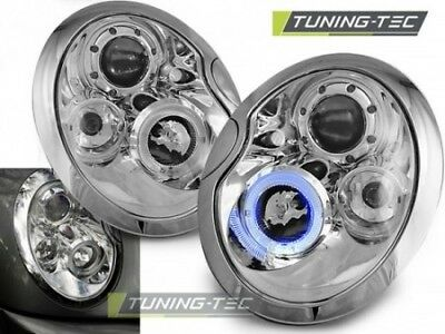 Coppia Fari Fanali Anteriori Tuning BMW MINI (COOPER) 2001-2006 ANGEL EYES Cromo