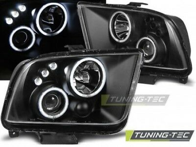 Coppia SET Fari Fanali Anteriori Tuning FORD MUSTANG 2004-2009 ANGEL EYES Neri