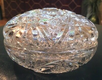 Rare Brilliant Master Cut Crystal Two Piece Lidded Round Dresser Box Vanity Jar