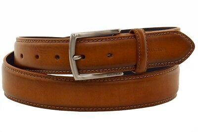 MEZLAN ETCHED PIPING INLAY LEATHER BELT IN COGNAC NEW WITH TAGS