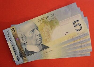 2006 $5 Bank of Canada Low Number Set 5 Notes 0000672-676 - 149.95