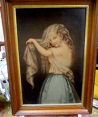 Original Oil Painting of Woman in Veil signed and dated, George Fish (1849-1880)