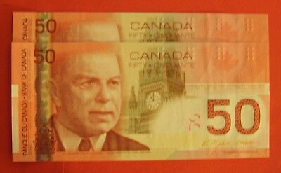 2004 $50 Bank of Canada AHW Changeover 2134565-6 - 139.95 - 2 Consecutive!