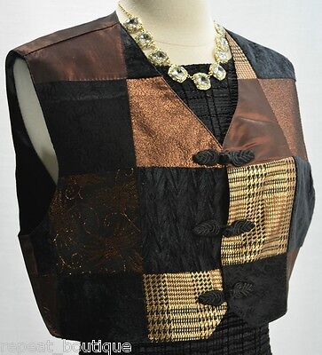 Modelle velvet Top Crop Vest metallic shimmer color block sexy vest top S M VTG