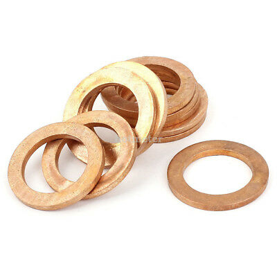 10 Pcs 16mm x 25mm x 2mm Metric Ring Shape Copper Flat Washer Copper Tone