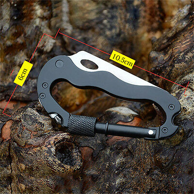 Multi 5 in 1 Aluminum Climbing Carabiner Hook Gear outdoor Survival Tools WL