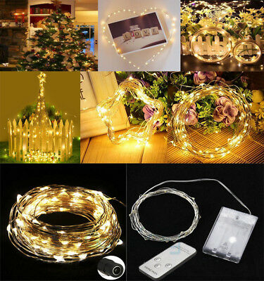 Warm White 30/50/100 LED Battery Power Copper Wire Fairy String Light Christmas