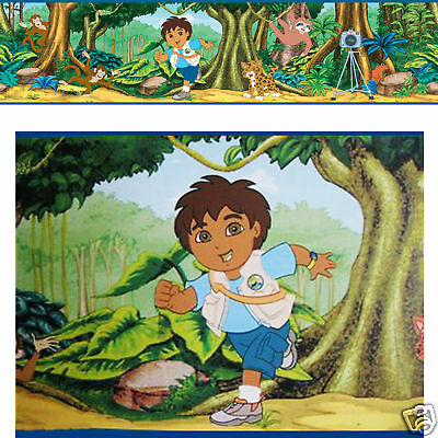 GO DIEGO Boy Monkey Jungle Tree Forest Kid Wallpaper Wall Peel Self Stick Border