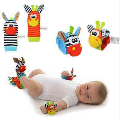 Infant Baby Cute Animal Wrist Foot Sock Rattles Soft Developmental Toy Finders