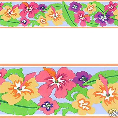 Tropical Floral Hawaii Hibiscus Flower Peel & Stick Wall paper Border