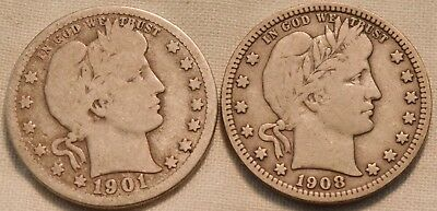 Lot of (2) Better Date Barber Quarters, 1901 O, 1908 S Full LIBERTY Silver 25C