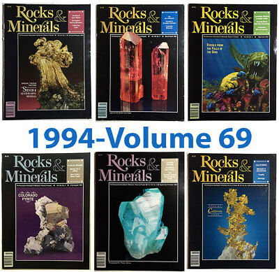 Rocks and Minerals 1994 Volume 69  (Number ONE thru SIX) - Pristine