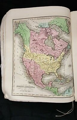 1833 antique HUNTINGTON'S SCHOOL ATLAS vivid color 8 MAPS