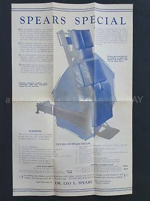 1925 antique SPEARS PAINLESS SYSTEM CHIROPRACTIC TABLE AD BROADSIDE w PRICES
