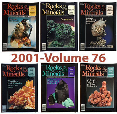 Rocks and Minerals 2001 Volume 76  (Number ONE thru SIX) - Pristine