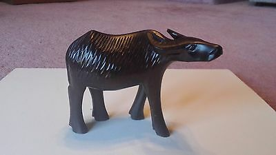 Cool beautiful vintage 1960s hand-carved ebony wood water buffalo from Tanzania.