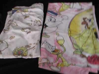 Vintage Beauty And The Beast Twin Size Sheets Fitted Flat Disney Belle Fabric