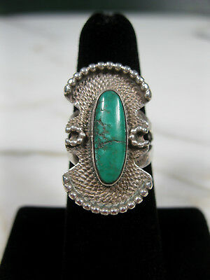 Old Pawn Southwest Turquoise Sterling Silver Tooled & Granulated Ring Arrow Mark