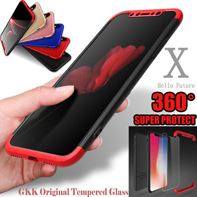 iPhone X XS Max Case 360° Full Body Slim Hybrid Shockproof Cover +Tempered Glass