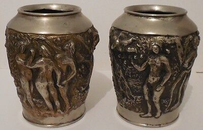Pair Signed Japanese Nudes Antimony Vases Heavily Embossed
