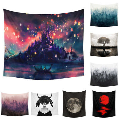 Forest Landscape Printed Beach Blanket Towel Hanging Tapestry Wall Decor Novelty