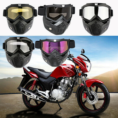 AU Outdoor Motorcycle Detachable Modular Face Mask Shield Goggles Eyewear Helmet