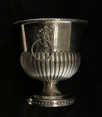 Sterling Silver Footed Champagne Ice Bucket, Lion Head Handles - TANE, Mexico
