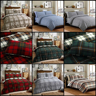 100% Brushed Cotton Flannelette Warm Duvet Quilt Cover Bed Set Tartan Check Stag