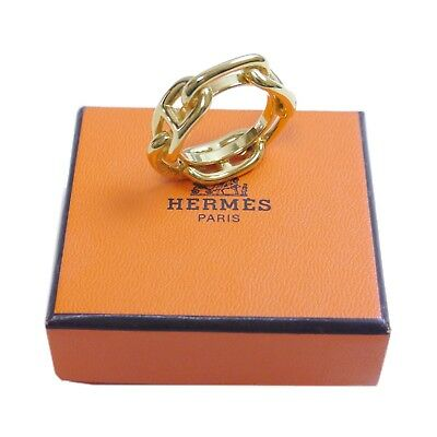 Authentic HERMES Chaine d'Ancre Scarf ring Gold Metallic #12457