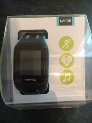 TomTom Runner 2 Cardio+Music GPS Sports Watch, Black/Cyan, Size L, Fully Boxed