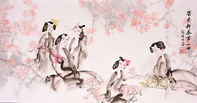 ORIGINAL ASIAN ART CHINESE FIGURE WATERCOLOR PAINTING-Flower & Beauty Play music