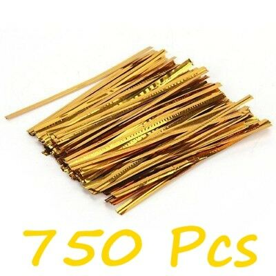 750 Pcs Gold Metallic Twist Ties Ribbons For Cello Candy Bags Party 8cm L6