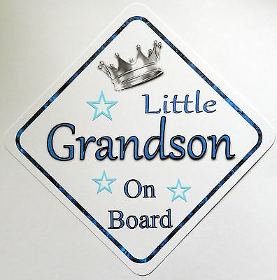 Handmade Little Grandson Baby on Board Car Sign
