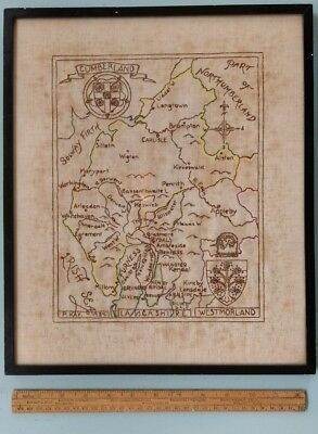 Vintage Framed Embroidered Cloth Sampler - Map of Cumberland - P. Kay 1939