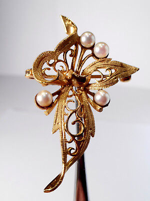 9Ct Gold Pearl Spray Brooch