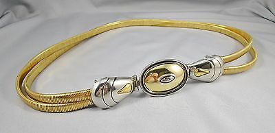 "Vtg DAMEBELT  Bi Color Silver & Gold Tone Flexible Metal Belt 33"" Long 1.5"" #289"