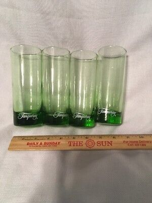 FOUR TANQUERAY GIN GREEN  12 0z HIGHBALL  COLLINS  GLASSES BARWARE Vintage Set