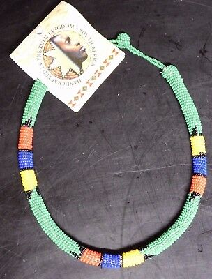 ZULU Traditional South African Beaded Choker Necklace   Nwt  Green  #1