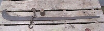Vintage Antique N Custer Iron Beam Hanging Farm Cotton Scale With Weight B7475