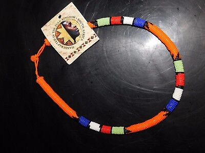 ZULU Traditional South African Beaded Choker Necklace   Nwt  Orange  #6