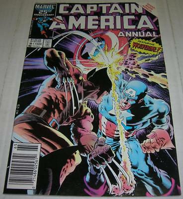 CAPTAIN AMERICA ANNUAL #8 (Marvel 1986) Classic WOLVERINE cover / story (FN+)